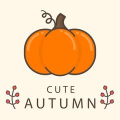cartoon pumpkin with text vector