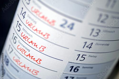 Urlaub Urlaubsplanung Freizeit Reise Erholungsurlaub Kalender