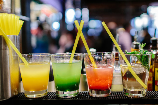 Selection of cocktails with blurred background