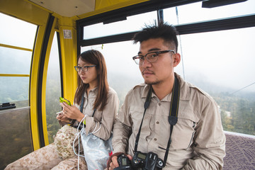 young couple in the funicular