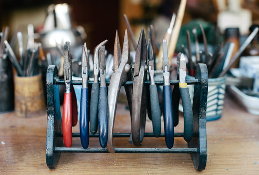 Old working tools in workshop