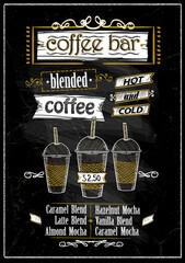 Chalkboard coffee bar menu, copy space for text