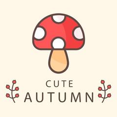 cartoon mushroom with text vector