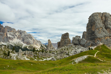 Cinque Torri cliffs, Five Towers , Dolomites, Italy