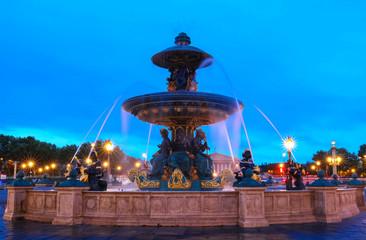 The fountain at the Place de la Concorde at night,Paris.