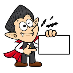 Dracula Character has been directed towards business card. Halloween Day Isolated Vampire Vector Illustration.