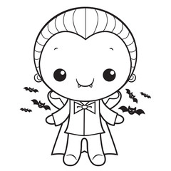 Black And White Cute Dracula Mascot Halloween Day Isolated Vampire Vector Illustration.
