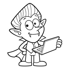 Black And White Dracula Mascot is holding a Laptop. Halloween Day Isolated Vampire Vector Illustration.