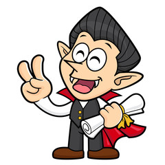 Dracula Character Quality warranty and victory gesture. Halloween Day Isolated Vampire Vector Illustration.