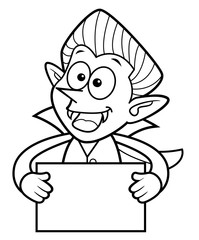 Black And White Cartoon Dracula Mascot is holding a Board. Halloween Day Isolated Vampire Vector Illustration.