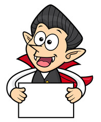 Cartoon Dracula Character is holding a Board. Halloween Day Isolated Vampire Vector Illustration.