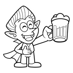 Black And White Dracula Mascot is holding a beer toast. Halloween Day Isolated Vampire Vector Illustration.