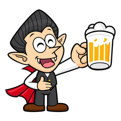 Dracula Character is holding a beer toast. Halloween Day Isolated Vampire Vector Illustration.