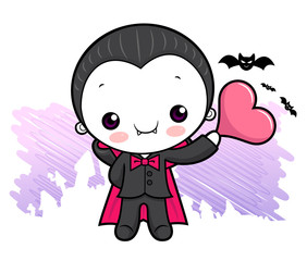 Cartoon Dracula Character is holding a heart. Halloween Day Isolated Vampire Vector Illustration.