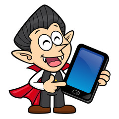 Dracula Character is holding a Smartphone. Halloween Day Isolated Vampire Vector Illustration.