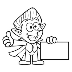 Black And White Dracula Mascot Business Card and Thumb Up Gesture. Halloween Day Isolated Vampire Vector Illustration.