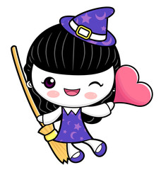 Witch Character is holding a broom and heart. Halloween Day Isolated Sorceress Vector Illustration.
