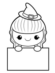 Black And White Witch Mascot is holding a Board. Halloween Day Isolated Sorceress Vector Illustration.