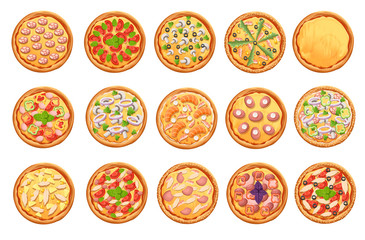 set of flat pizza icons isolated on white Pizza top view set. Web site page and mobile app design vector element.