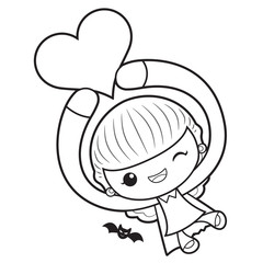 Black And White Witch Mascot is holding a heart. Halloween Day Isolated Sorceress Vector Illustration.