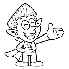 Black And White Cartoon Dracula Mascot is a guide gesture. Halloween Day Isolated Vampire Vector Illustration.