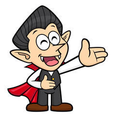 Cartoon Dracula Character is a guide gesture. Halloween Day Isolated Vampire Vector Illustration.