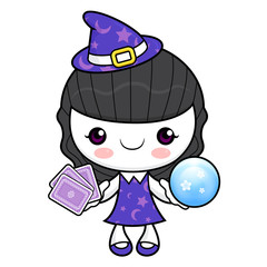 Witch Character tirer les cartes. Halloween Day Isolated Sorceress Vector Illustration.