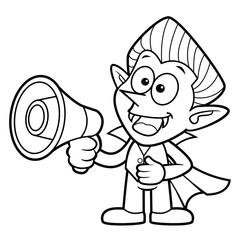Black And White Cartoon Dracula Mascot speaks through a loudspeaker bullhorn. Halloween Day Isolated Vampire Vector Illustration.