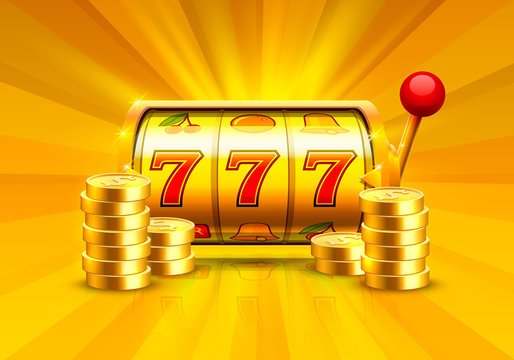 Golden slot machine wins the jackpot. Piles of gold coins. Vector illustration isolated on white background