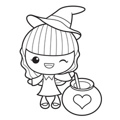Black And White Witch Mascot and Love Potion. Halloween Day Isolated Sorceress Vector Illustration.