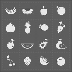 White Fruit Icon Set on Grey Background