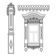 Set of wooden decorations for the window. Traditional Russian wooden houses design. Vector illustration.