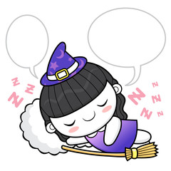 Witch Character dreams. Halloween Day Isolated Sorceress Vector Illustration.