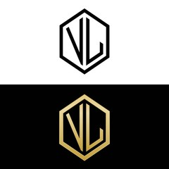 initial letters logo vl black and gold monogram hexagon shape vector