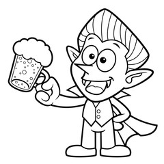 Black And White Dracula Mascot is drink beer. Halloween Day Isolated Vampire Vector Illustration.