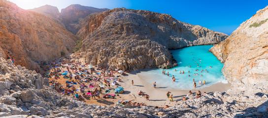 Seitan limania or Agiou Stefanou, the heavenly beach with turquoise water. Chania, Akrotiri, Crete, Greece.