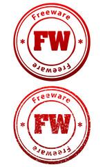 Pair of red rubber stamps in grunge and solid style with caption Freeware and abbreviation FW
