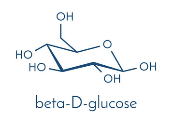 Glucose (dextrose, grape sugar) molecule (beta-D-glucopyranose form). Skeletal formula.