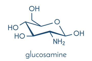 Glucosamine dietary supplement molecule. Used in treatment of osteoarthritis. Skeletal formula.