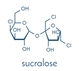 Sucralose artificial sweetener molecule. Used as sugar substitute. Skeletal formula.