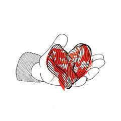 Bleeding heart in hand. Halloween hand drawn card on white