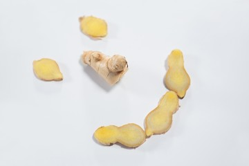 High angle view of peeled organic gingers