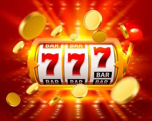 Golden Big win slots 777 banner casino fly coins . Vector illustration