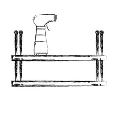 figure shelf with spray bottle to clean vector illustration