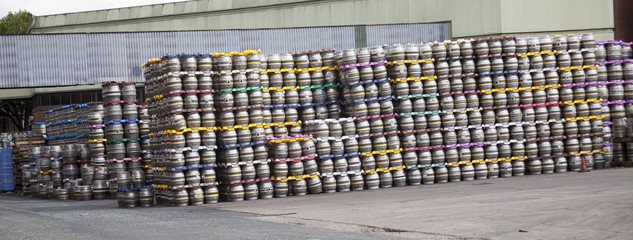 Kegs in the brewery stocked.