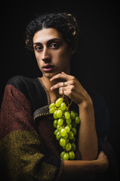 Baroque Styled Portrait with Green Grapes