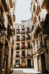 Old streets of the Gothic Quarter of Barcelona, Spain