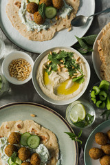 Falafel and hummus on a table