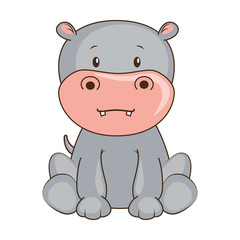 cute hippo character icon