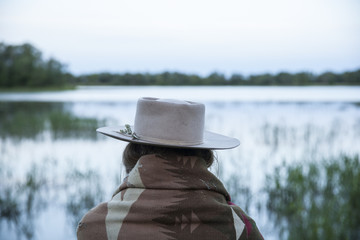Womans Back Side At A Lake